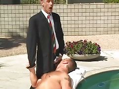 Horny fruit boss spoils hairy man by pool
