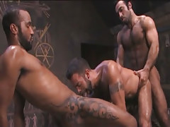 Tattooed Arabian gays share male in pyramid