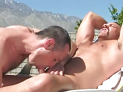 Bear gay sucked by excited placid man outdoor