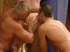 Mature faggots lick appetizing agile ass in threesome