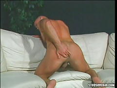 Hirsute muscle gay spreads hard butt cheeks