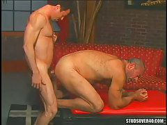 Bear dilf taut makes love silver dad in doggy style