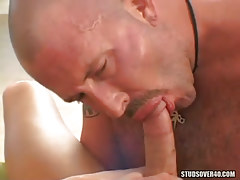 Hairy calm gay sucks fresh boys cock