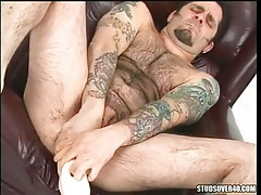 gay deep fills big toy in asshole