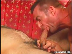 Horny dilf sucks hard cock