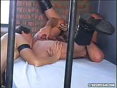 Gay prisoner licks males hairy ass