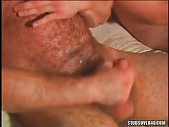 Mature bushy gay cums