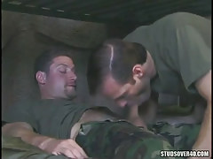 Military fellow sucks his hairy friend
