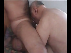 Bushy man sucked and licked by old gays