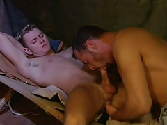 Fresh gay sucked by mature man
