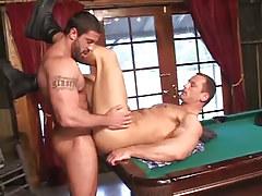 Bushy fruit drills cute boyfriend on billiard table