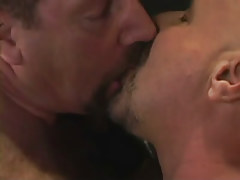 Hairy gay men kiss each other