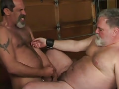 Mature furry gay cums on old chubby man