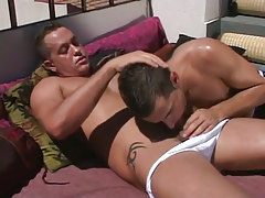 Horny daddy sucked by boi on terrace