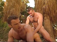 Hairy gay man fucks male in doggy style in jungle