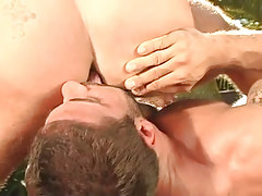 Bear gay licks hard guys ass outdoor