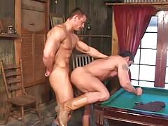 Hot muscle gays hard fuck on billiard table