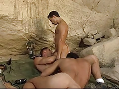 Three gay hunks suck cocks in mountains