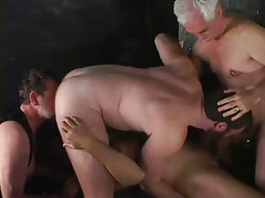Two old man-lovers have fun with amateur men
