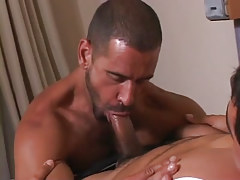 Mature guy throats appetizing cock