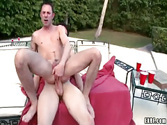 Horny gay rides cock in pools orgy