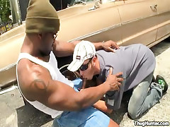 Black gay guy sucked by car