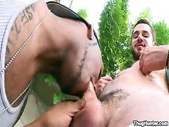 Bear homosexual sucked by ebony stud outdoor