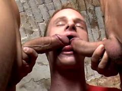 Horny twink threesome very their brains out on table