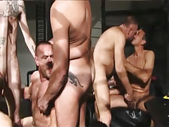 Hairy mature gay guys suck each other in orgy