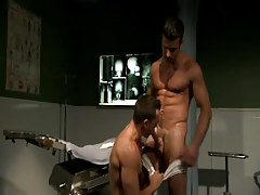 Hairy doctor sucked by horny stud