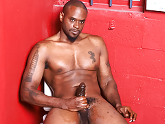 Hot and horny black stud wanks his mammoth black weenie off