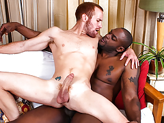 Huge black cock gets shoved inward tiny white redheaded guy