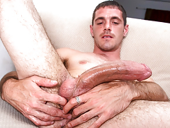 horny beefy dude with body hair masturbates his huge cock