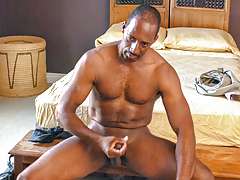 Black daddy Colton relaxes after plow by pleasuring himself
