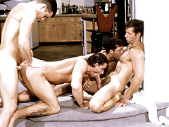 These four randy studs plow each other into a raunchy frenzy.