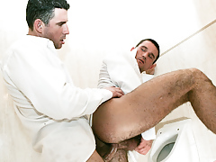 Student friends Tim Black and Rod Stevans fuck in a bathroom